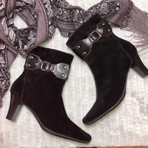 Aerosoles Black Suede Ankle Boots